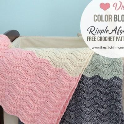 Vivi's Color Block Ripple Afghan – Free Crochet Pattern