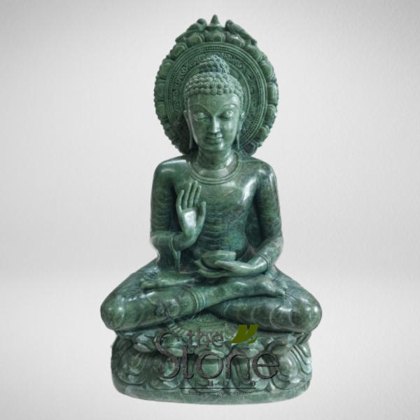 Budha Statue in Abhaya Mudra Green Stone