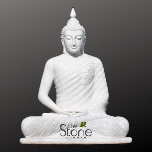 Marble Buddha Statue Sitting in Dhyana Mudra