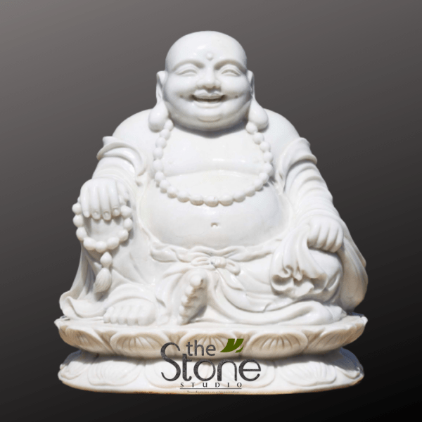 Laughing Buddha Statue in White Marble