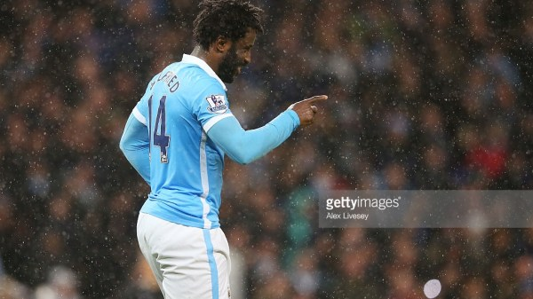 Wilfred Bony of Manchester City celebrates scoring his team's first goal during the Barclays Premier League match between Manchester City and Swansea City at Etihad Stadium on December 12, 2015 in Manchester, United Kingdom.