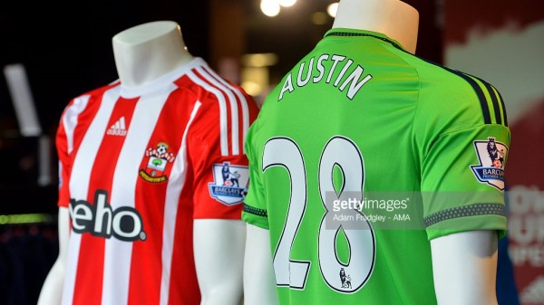 The Club shop displays home & away match shirts with Charlie Austin & his squad number 28 before the Barclays Premier League match between Southampton and West Bromwich Albion at St. Mary's Stadium on January 16, 2016 in Southampton, England.