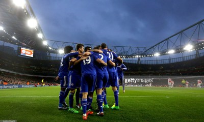 Chelsea celebrate after Diego Costa of Chelsea scores to make it 0-1 during the Barclays Premier League match between Arsenal and Chelsea at the Emirates Stadium on January 24, 2016 in London, England.