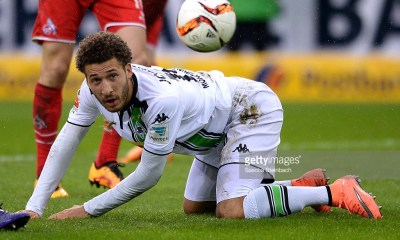 Fabian Johnson of Moenchengladbach looks for the ball during the Bundesliga match between Borussia Moenchengladbach and 1. FC Koeln at Borussia-Park on February 20, 2016 in Moenchengladbach, Germany.