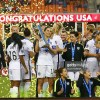 Captain Carli Lloyd #10 poses on stage with members of the United States after they beat Canada 2-0 during the Championship final of the 2016 CONCACAF Women's Olympic Qualifying at BBVA Compass Stadium on February 21, 2016 in Houston, Texas.