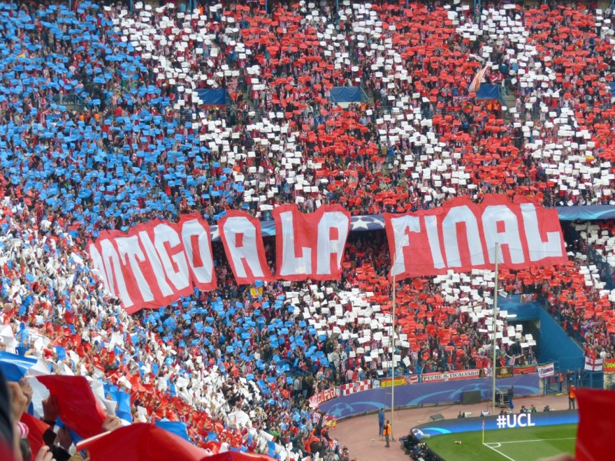 Atletico Madrid supporters at the Champions League match against Bayern Munich, April 28, 2016. Photo by Sierra Godfrey for The Stoppage Time.