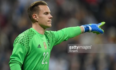 MUNICH, GERMANY - MARCH 29: Goalkeeper Marc-Andre ter Stegen of Germany in action during the International Friendly match between Germany and Italy at Allianz Arena on March 29, 2016 in Munich, Germany. (Photo by Matthias Hangst/Bongarts/Getty Images)