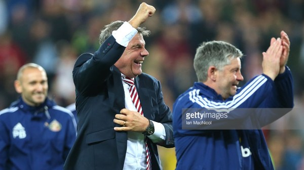 Sam Allardyce, manager of Sunderland celebrates staying in the Premier League after victory during the Barclays Premier League match between Sunderland and Everton at the Stadium of Light on May 11, 2016 in Sunderland, England.