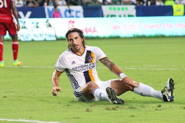Alan Gordon on the ground during LA Galaxy's 2-1 loss to FC Dallas in the U.S. Open Cup semifinals