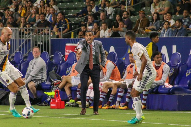 Colorado Rapids coach Pablo Mastroeni during 1-1 tie Saturday night against the LA Galaxy at StubHub Center. Photo taken by Jorge Galves for The Stoppage Time 8/13/16