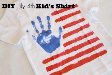 Cutest DIY JUly 4 kid's shirt craft.