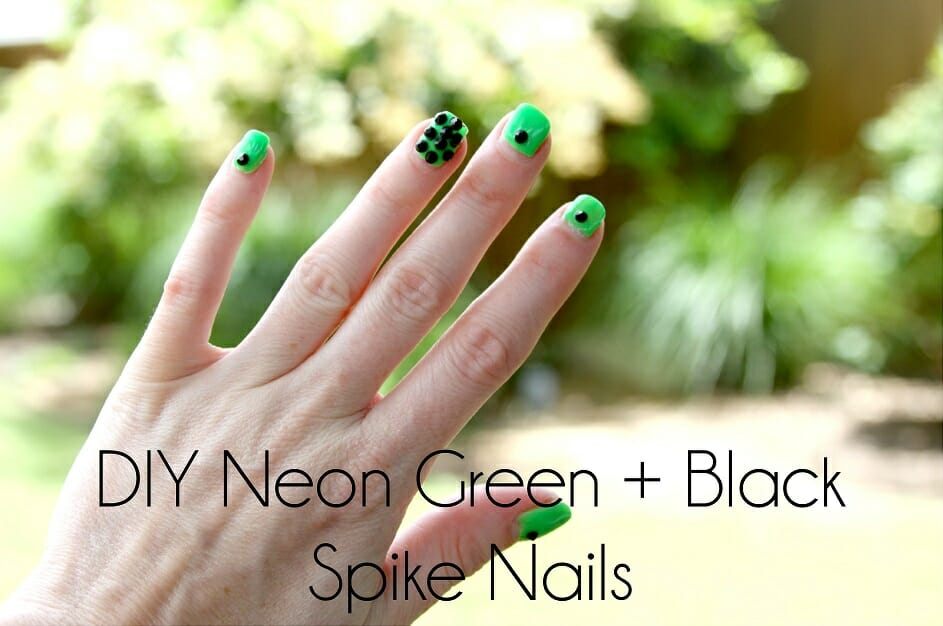 DIY Neon Green + Black Spike Nails - the sTORIbook