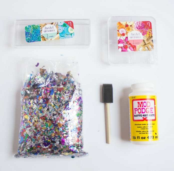 DIY Confetti Makeup Trays Supplies