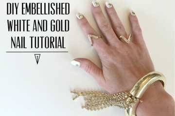 DIY Embellished White and Gold Nail Tutorial