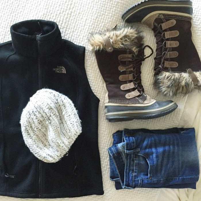northface vest sorel boots