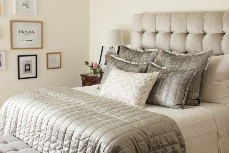 silver and white bed