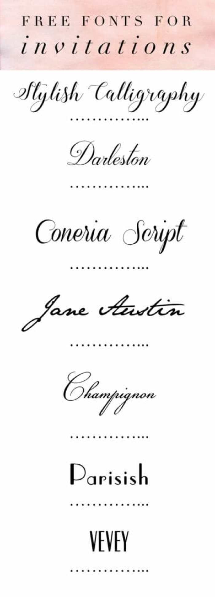 free fonts for Wedding invitations