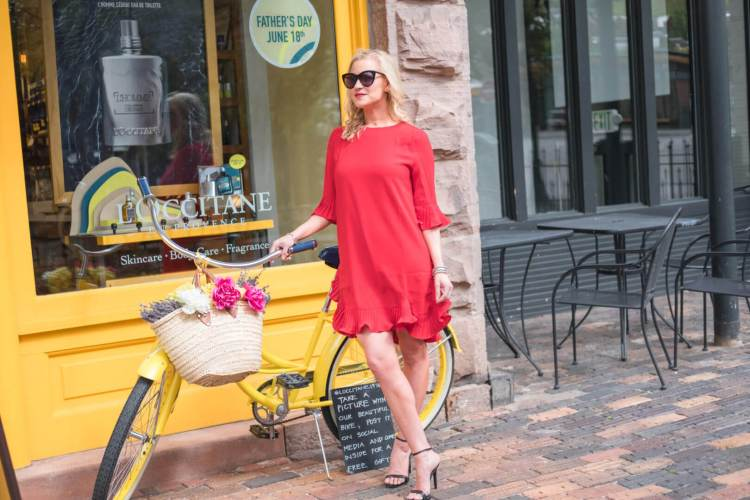 red and ruffles dress