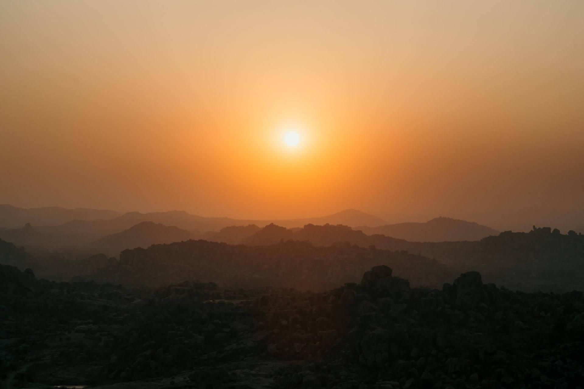 coucher de soleil en Inde