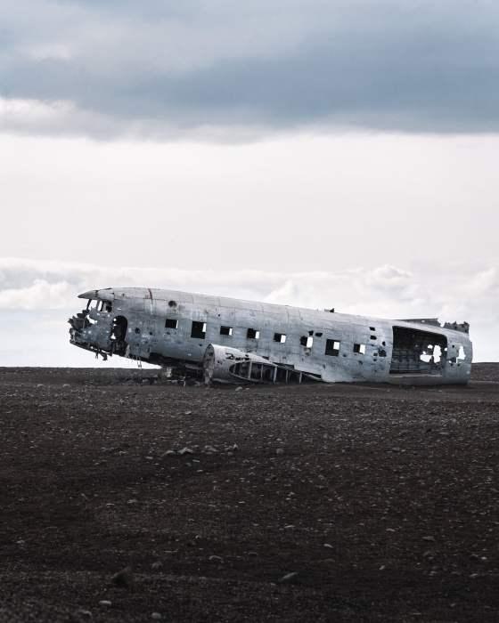 épave d'un avion écrasé en Islande