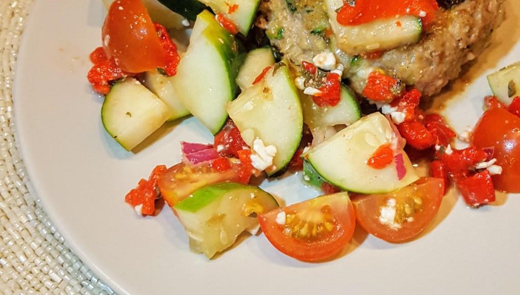 Naked Greek Feta-Zucchini Turkey Burger