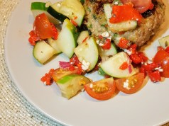 Naked Greek Feta-Zucchini Turkey Burger