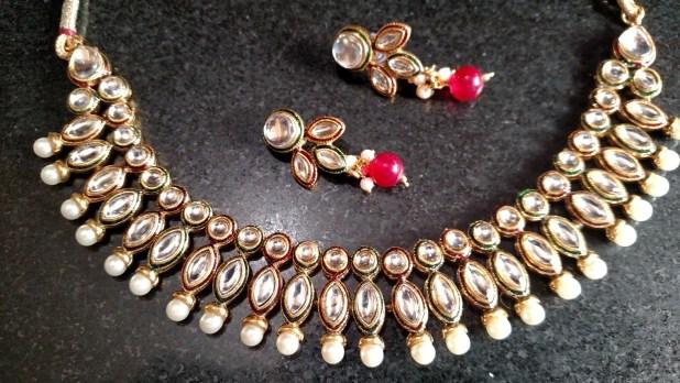 9to9 shopee kundan necklace set