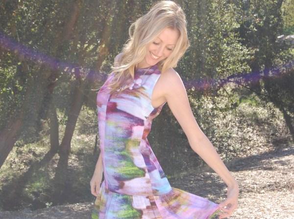 bar III watercolor drop waist dress