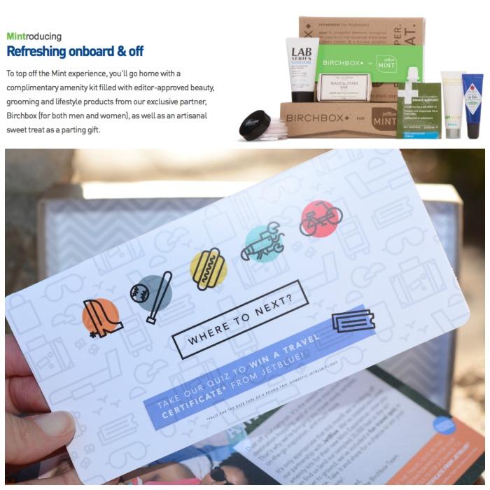 JetBlue Birchbox Mint Experience