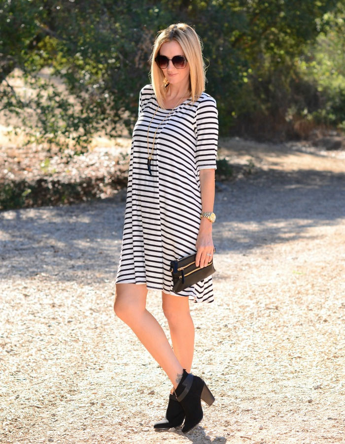 Golden Tote Striped Swing Dress