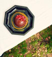 Demi-sphere au chocolate et coulis de fruits rouges, from Restaurant L'Atmosphère in Chamonix