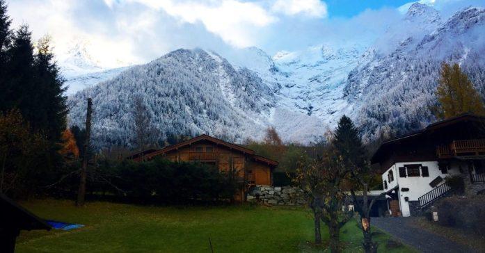Snow Descending on Chamonix in November