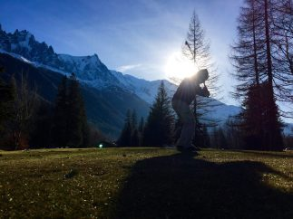 Steve Swings Back for Approach Shot in Chamonix