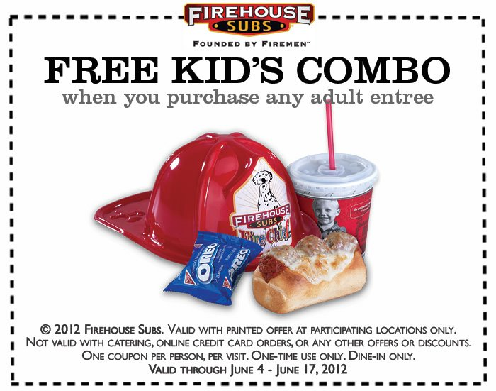 photograph about Firehouse Subs Coupon Printable identified as Firehouse Subs - Absolutely free Children Combo with Buy - TheSuburbanMom