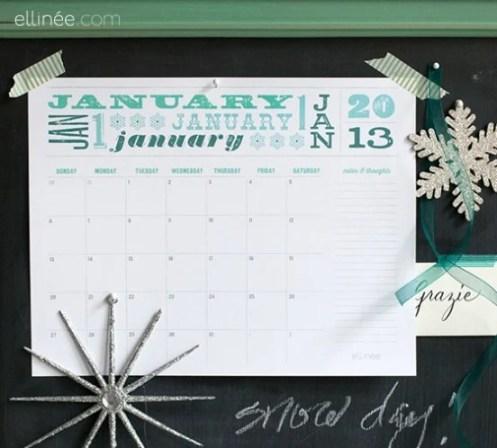 Free 2013 Printable Calendar Ellinee