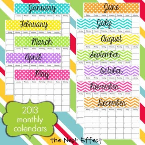 Free 2013 Printable Calendar The Nest Effect