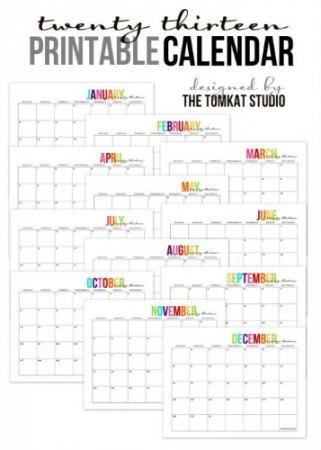 Free 2013 Printable Calendar TomKat Studio