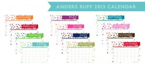 Free 2013 Printable Calendar anders ruff