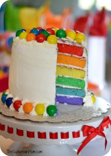 Rainbow Birthday Party Cake Colored Layers Gumballs