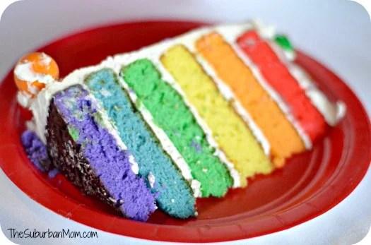 Rainbow Birthday Party Cake Layers Slice