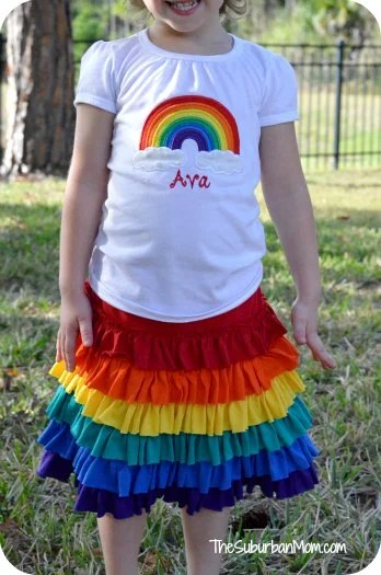 Rainbow Birthday Party Shirt Skirt Outfit