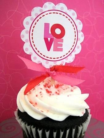 Valentine's Day Free Printable Cupcake Topper