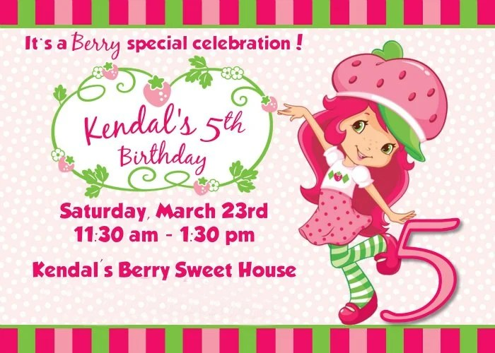 Strawberry Shortcake Birthday Party Inviation