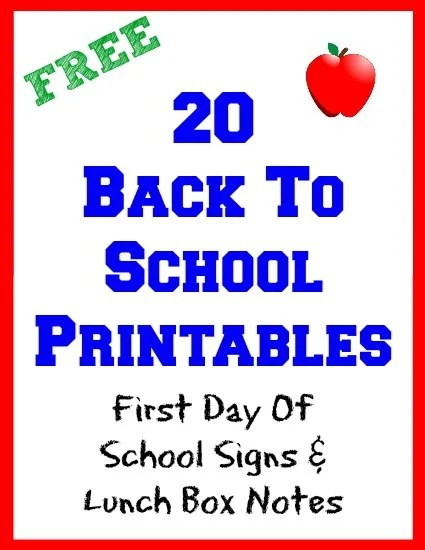 graphic regarding Free Printable Back to School Signs known as 20 Again Toward College Cost-free Printables Very first Working day Of Faculty Signs and symptoms