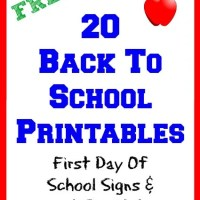 20 Back To School Free Printables First Day Of School Signs & Lunch Box Notes
