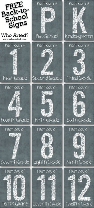 First Day of School Signs Free Printable 1