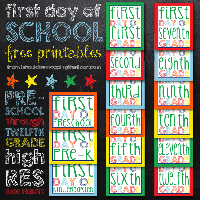 First Day of School Signs Free Printable 3