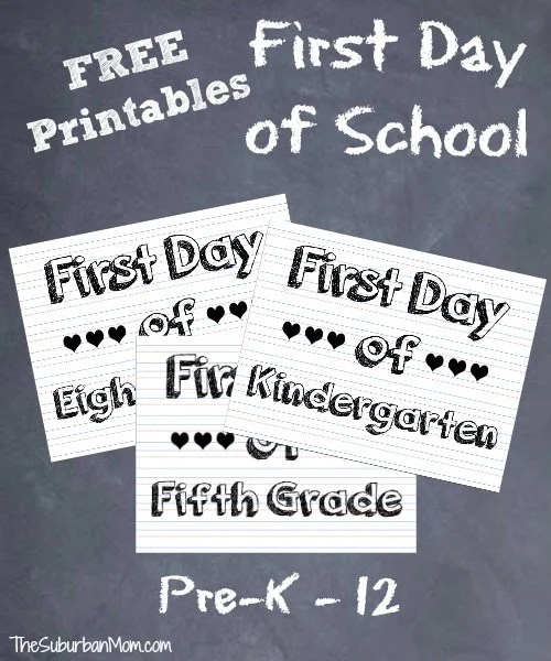 graphic about Free Printable Back to School Signs named 1st Working day Of Higher education Signal Image Options ~ Absolutely free Printable