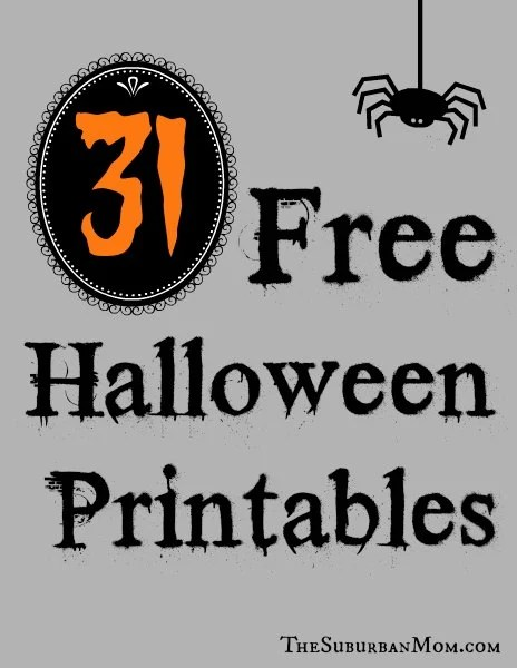 graphic about Printable Halloween Images titled 31 Totally free Halloween Printables - TheSuburbanMom