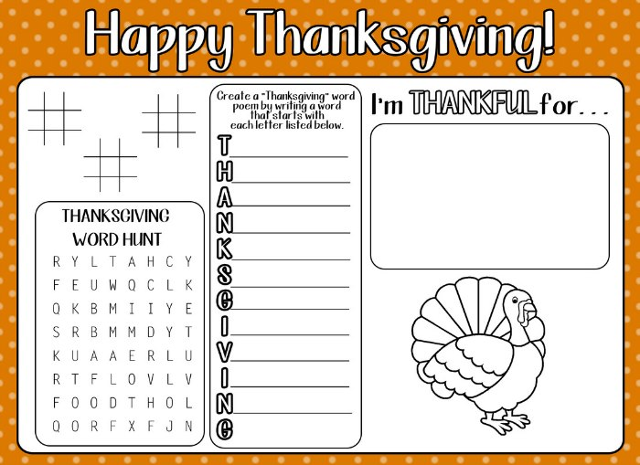 Printable Thanksgiving Activity Page